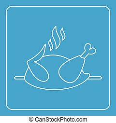 Grilled chicken on a grill icon outline