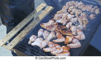 Grilled chicken on the grill. Slow Motion