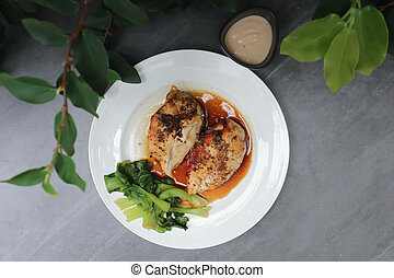 grilled chicken or chicken steak with sauce