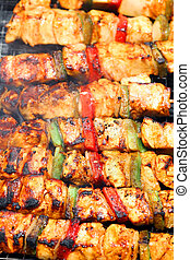Grilled chicken - outdoor barbacue of chicken with pepper...