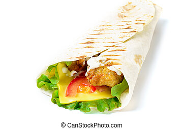 Grilled chicken pita with cheese on white background