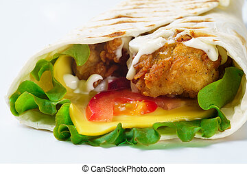 Grilled chicken pita with vegetables on white background