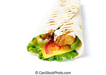 Grilled chicken roll with cheese on white background