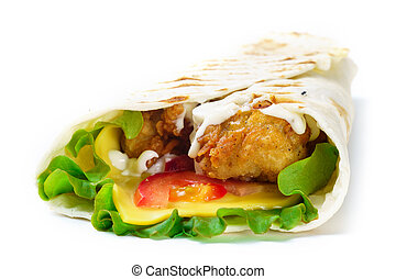 Grilled chicken roll with vegetables on white background