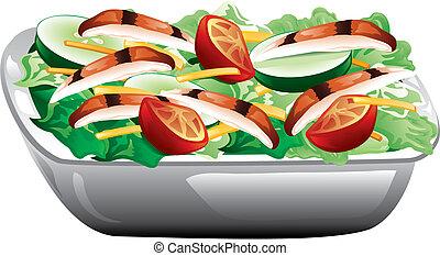 Grilled chicken salad - Illustration of a grilled chicken...