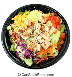 Grilled Chicken Salad To Go - Fast food salad with grilled...