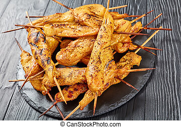 grilled Chicken satay, view from above