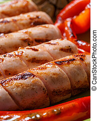 Grilled chicken sausages close up - Close up view of chicken...