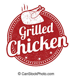 Grilled chicken stamp - Grilled chicken grunge rubber stamp...