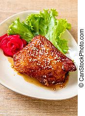 grilled chicken steak with teriyaki sauce