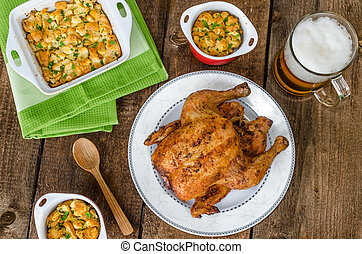 Grilled chicken stuffed with czech beer
