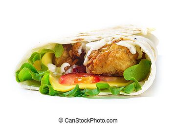 Grilled chicken tortilla with vegetables on white background