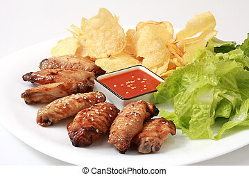 chicken wings - Grilled chicken wings with hot pepper sauce ...