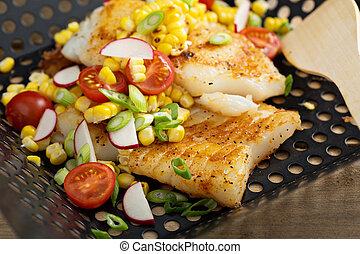Grilled cod with summer vegetables - Grilled cod with summer...