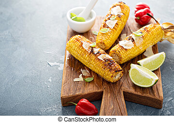 Grilled corn with chili and cheese - Grilled corn with chili...