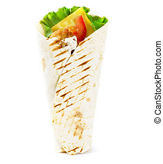 Grilled dietary burrito with cheese on white background