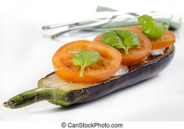 grilled eggplant with rice and tomato slices