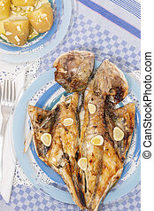 Grilled european seabass with potato - Traditional...