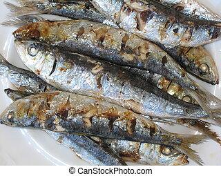Grilled fish - detail - Detail of baked fresh fish (Sardina...