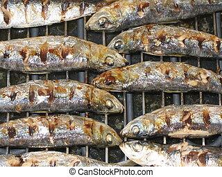 Grilled fish - ending - Ending of baking fresh fish (Sardina...