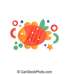 Grilled fish vector Illustration on a white background