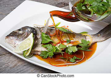 Grilled fish with soy sauce