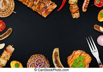 grilled food on slate