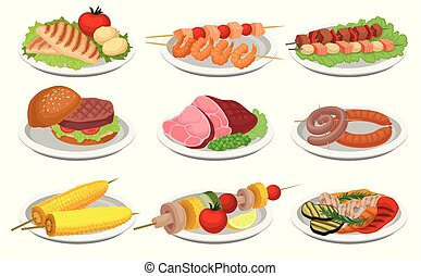 Grilled food set, delicious dishes for barbecue party menu, meat and vegetarian food vector Illustration on a white background