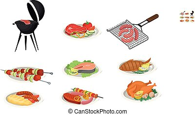 Grilled food set, delicious dishes for barbecue party menu, meat food vector Illustration on a white background