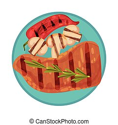 Grilled Food with Tenderloin or Fillet Rested on Plate with ...