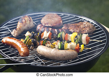 Grilled Foods - Barbecue a hot summer evening, Grilling