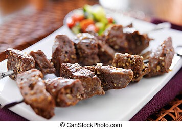 grilled garlic herb beef shishkabob skewers