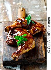 Grilled Glaze chicken legs .selective focus - Grilled Glaze ...