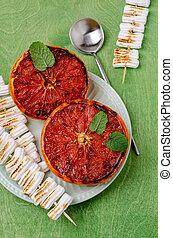 grilled, grapefruit, helft