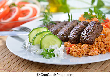 grilled, griekse , gelul, vlees