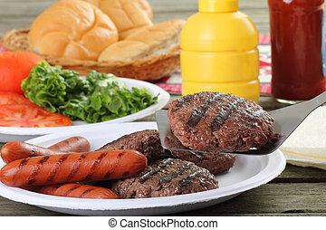 Grilled Hamburgers and Hotdogs