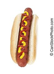 grilled hotdog on a bun