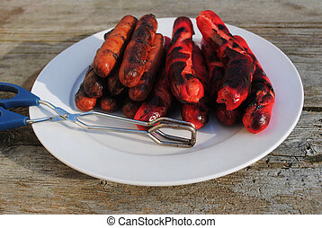 Grilled Hotdogs on a Plate