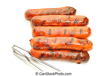 Grilled Hotdogs with Tongs