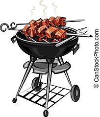 grilled hot meat kebabs on skewers