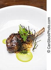 Grilled lamb chop with pesto sauce, international gourmet ...