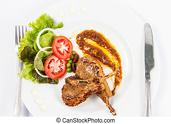grilled lamb chops with Vegetables