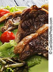 Grilled lamb closeup
