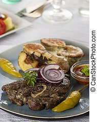 grilled lamb meat on a plate