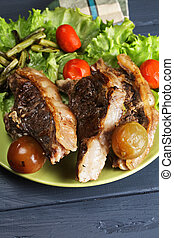 Grilled lamb on plate