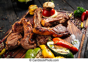 Grilled lamb ribs entrecote with vegetables