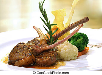 grilled lamb steak - Gourmet Main Entree Course Grilled Lamb...