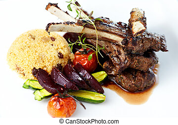 Grilled lamb carre with warm couscous salad, roasted...