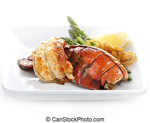 Grilled Lobster Tail Served With Asparagus And Onion
