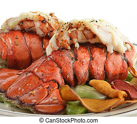 Grilled Lobster Tail  With Asparagus ,Close Up
